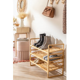 Modular Shoe Rack with 3 Shelves in Sultan Bamboo Wood, thumbnail image 1