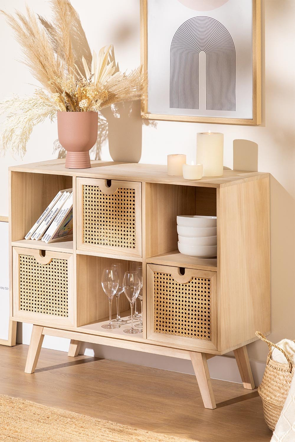 Ralik Style Wooden Sideboard with Drawers, gallery image 1