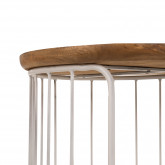 Round Auxiliary Nesting Table in Recycled Wood & Steel Ound , thumbnail image 4
