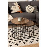 Round Auxiliary Nesting Table in Recycled Wood & Steel Ound , thumbnail image 5