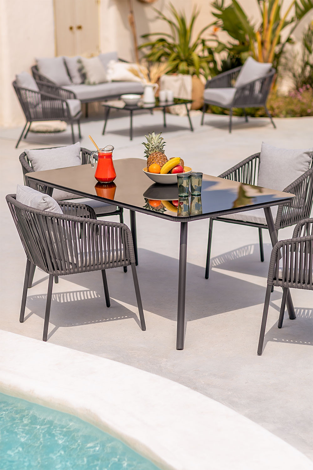 Outdoor Table in Glass & Aluminum Arhiza (160x90 cm) , gallery image 1