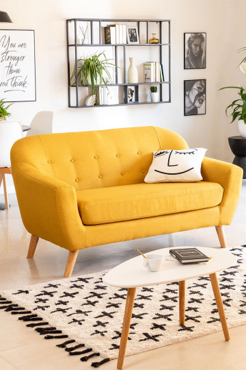 2 Seater Linen and Fabric Sofa Aktic