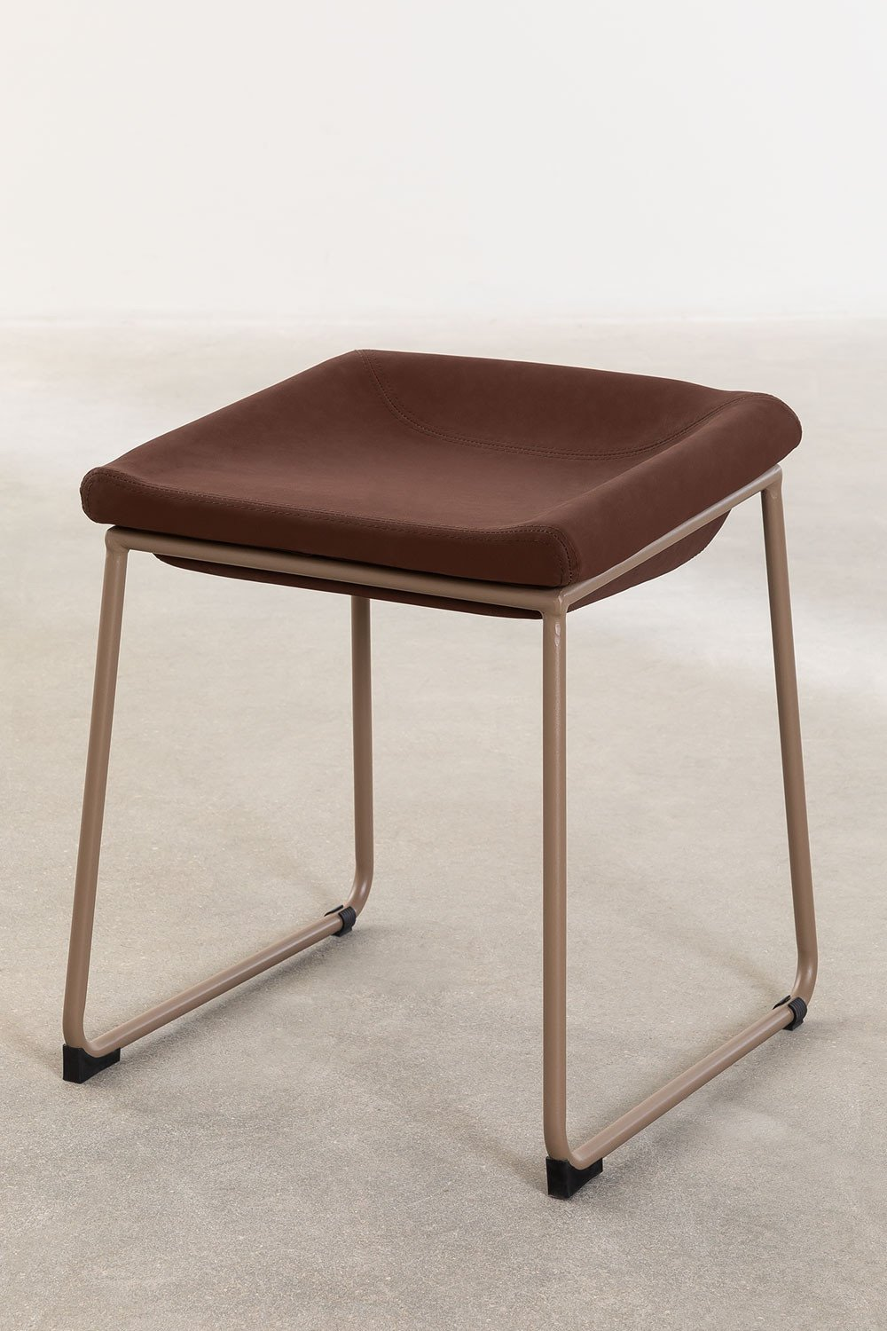 Adhon Low Stool Upholstered in Leatherette , gallery image 1