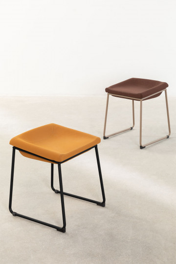 Adhon Low Stool Upholstered in Leatherette