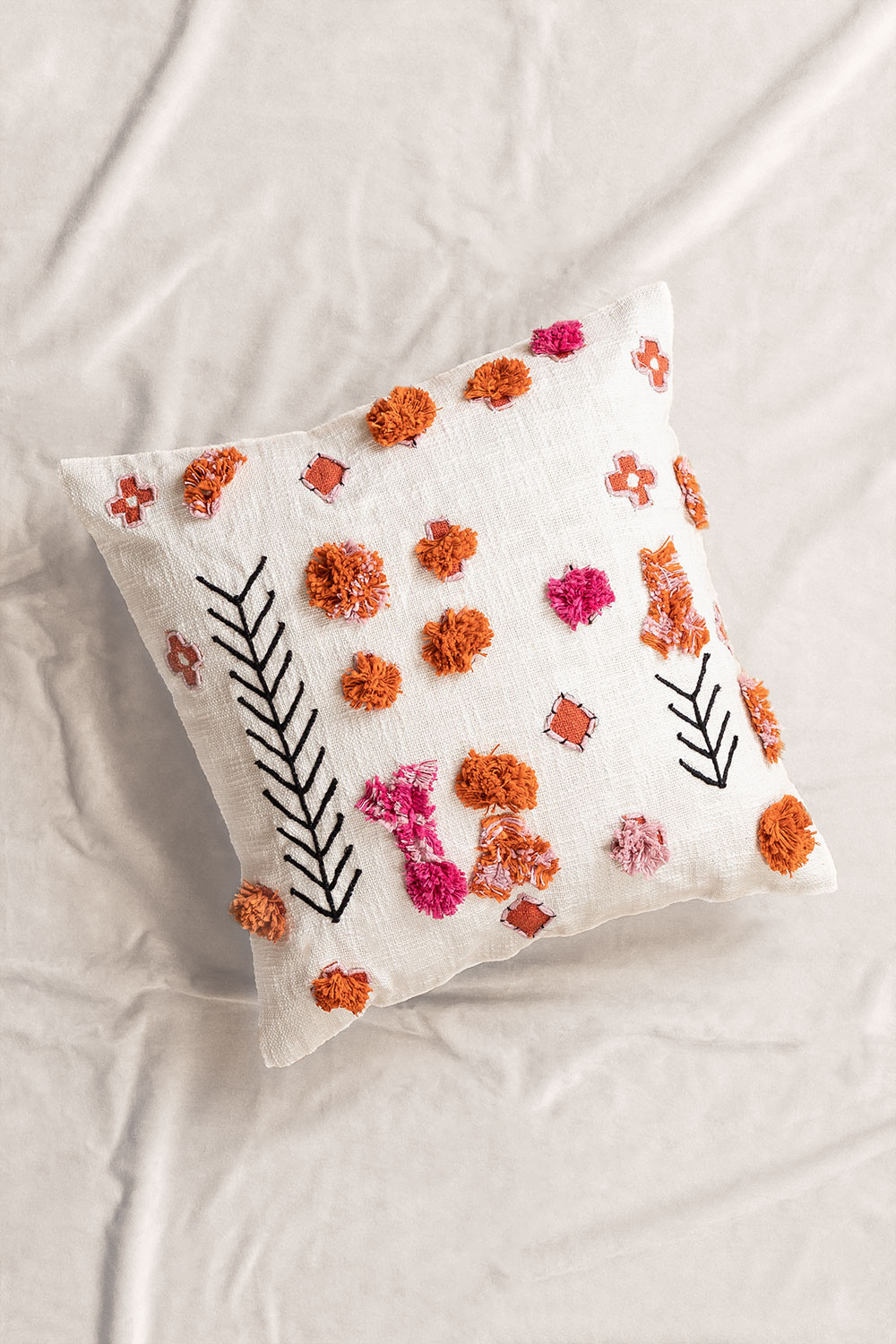 Floer Square Cotton Cushion (50x50 cm) , gallery image 1