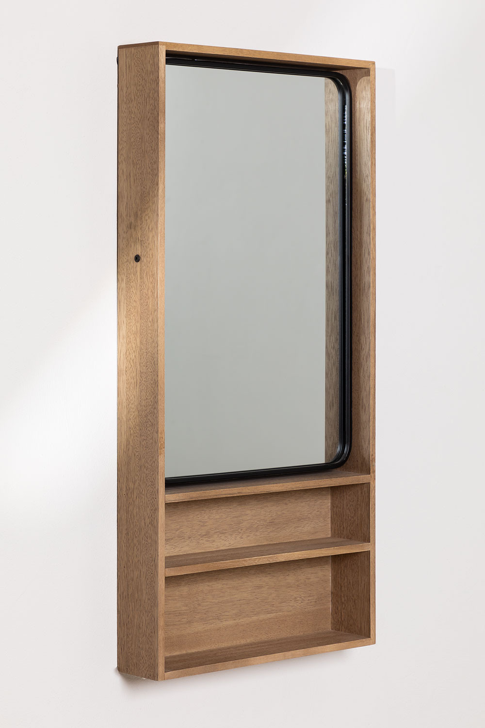 Quhe Rectangular Wall Mirror with Shelves in MDF (96x46 cm), gallery image 1