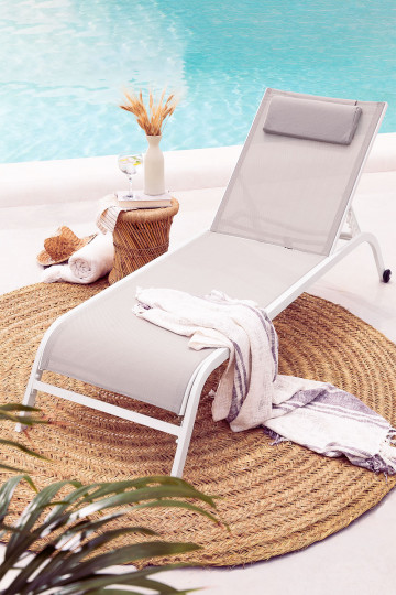 Reclinable Sun Lounger with Cushion Therys