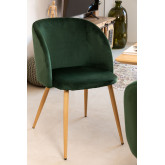 PACK of 4 Velvet Kana Dining Chairs with Armrests, thumbnail image 1
