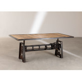 Elevating Dining Table in Recycled Wood and Steel (200x100 cm) Jhod, thumbnail image 2