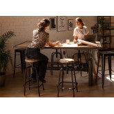 Elevating Dining Table in Recycled Wood and Steel (200x100 cm) Jhod, thumbnail image 1