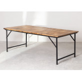 Foldable Recycled Wood  & Steel Dining Table(200x100 cm) Fer, thumbnail image 2