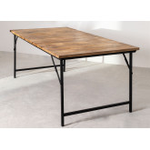 Foldable Recycled Wood  & Steel Dining Table(200x100 cm) Fer, thumbnail image 3
