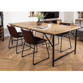 Foldable Recycled Wood  & Steel Dining Table(200x100 cm) Fer, thumbnail image 1