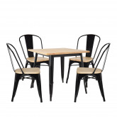LIX Wood Table Set (80x80) & 4 LIX Wood Chairs, thumbnail image 1