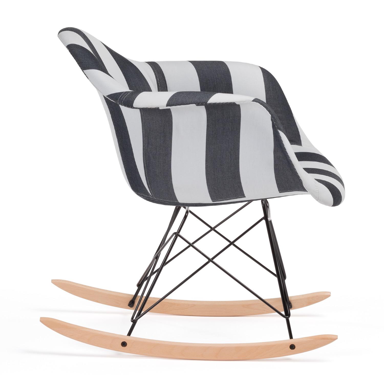 Stripey Upholstered Brich Scand Rocking