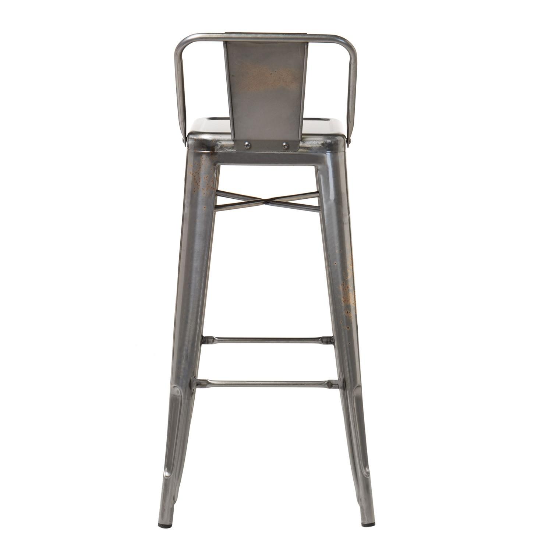 brushed lix bar stool with backrest sklum. Black Bedroom Furniture Sets. Home Design Ideas