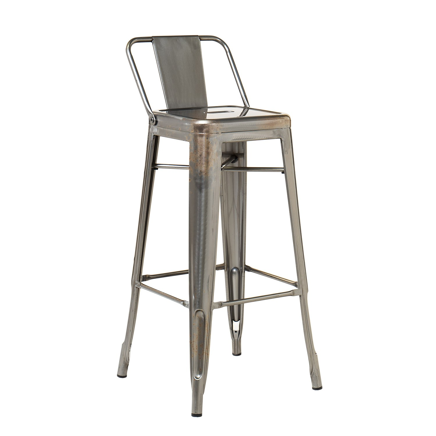 High Stool with back in Brushed LIX Steel, gallery image 1