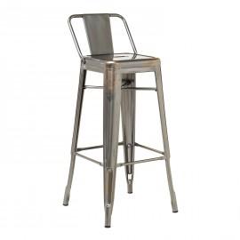 Brushed LIX Bar Stool with Backrest