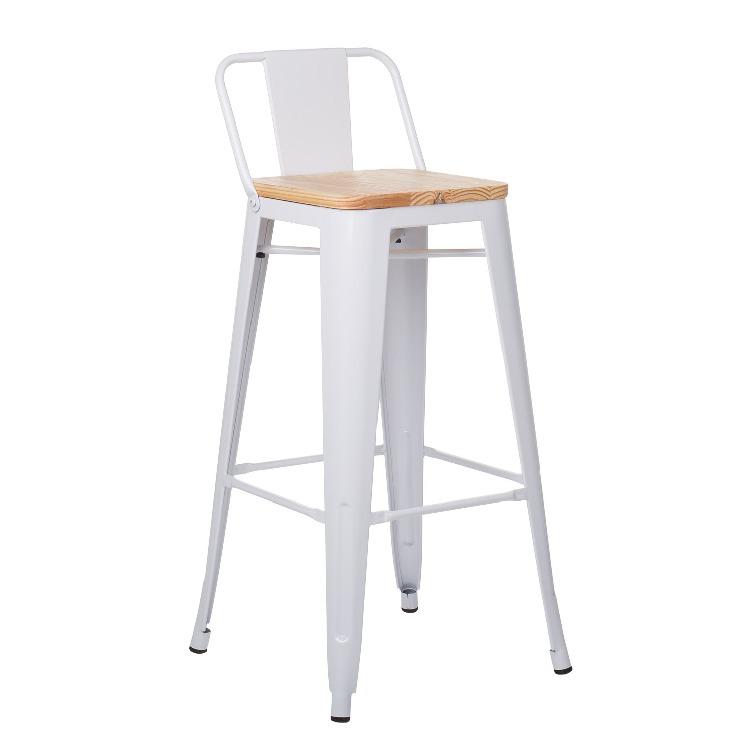 Wooden -Steel  High Stool with Backrest LIX , gallery image 1