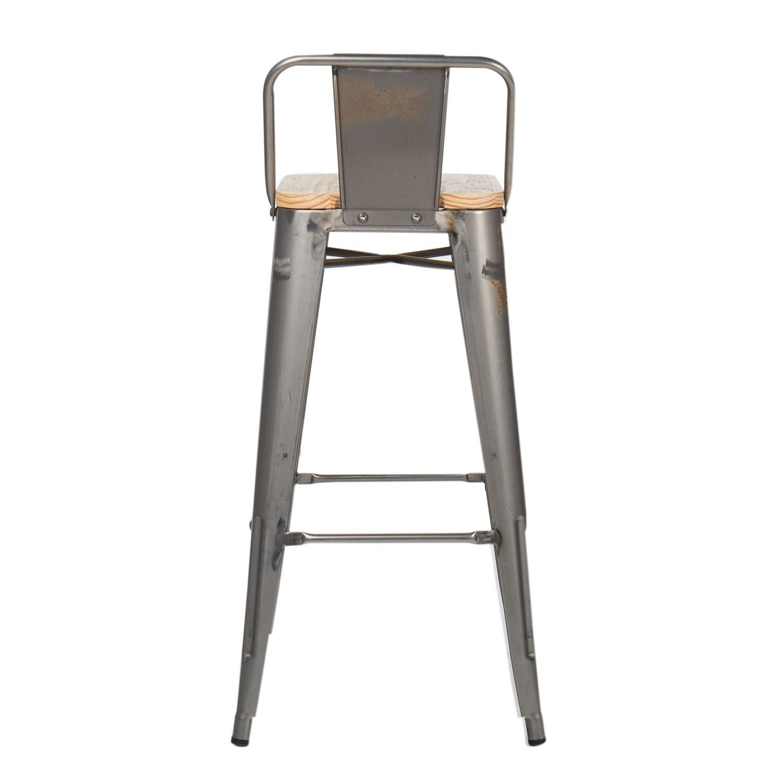brushed wood lix bar stool with backrest sklum. Black Bedroom Furniture Sets. Home Design Ideas