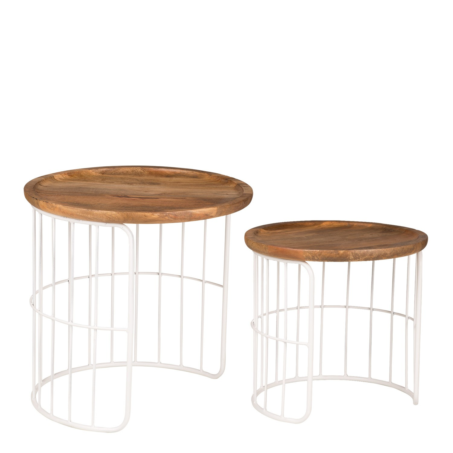 Round Auxiliary Nesting Table in Recycled Wood & Steel Ound , gallery image 1