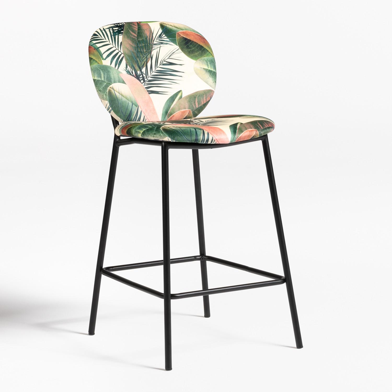 Llasi High Stool with Velvet Backrest, gallery image 1