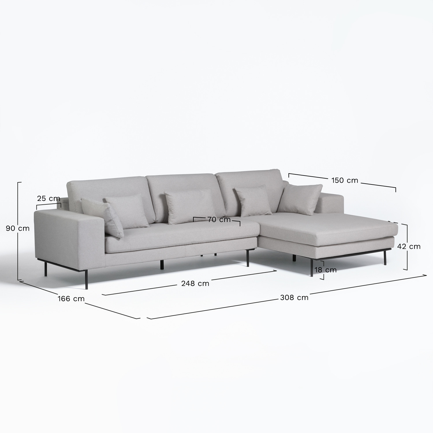 Picture of: Chaise Longue 4 Seater Sofa In Agon Fabric Sklum