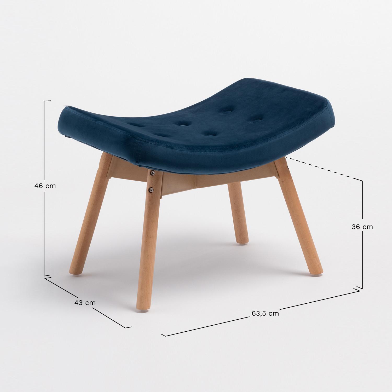 Morris Armchair with Velvet Upholstered Footrest - SKLUM