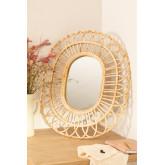 Oval Rattan Wall Mirror (60.5x51.5 cm) Zaan, thumbnail image 1