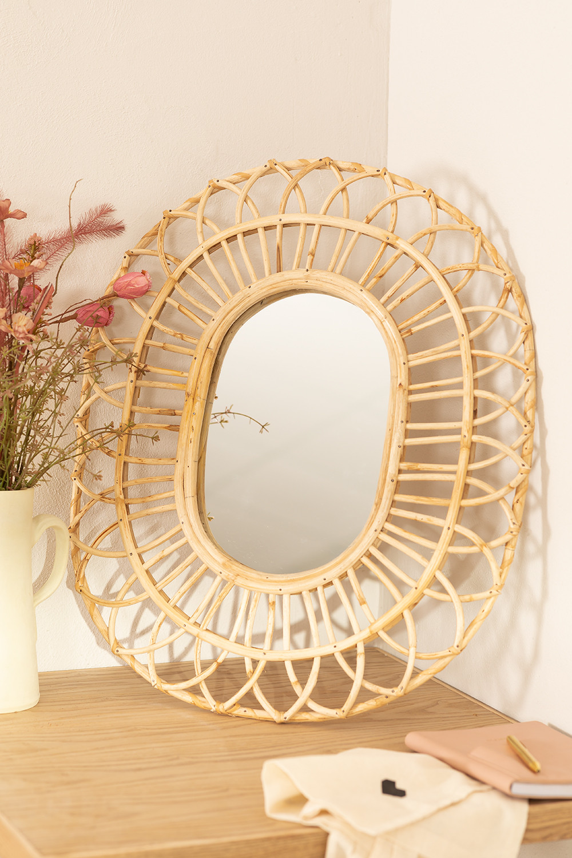 Oval Rattan Wall Mirror (60.5x51.5 cm) Zaan, gallery image 1