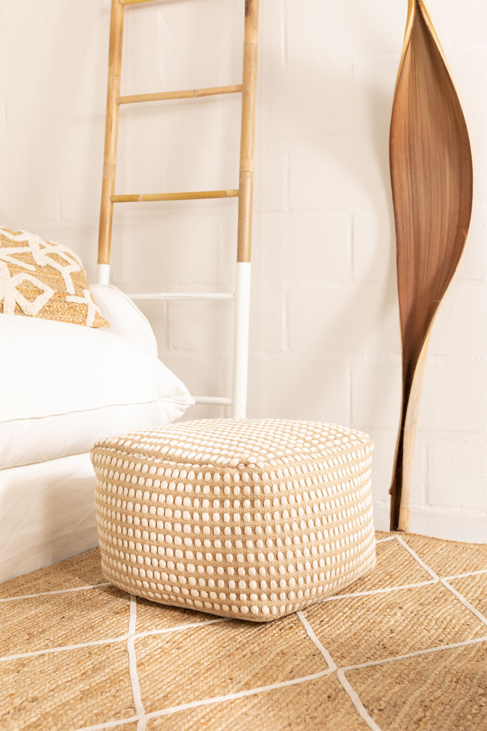 Square Jute and Cotton Puff Fuo, gallery image 1