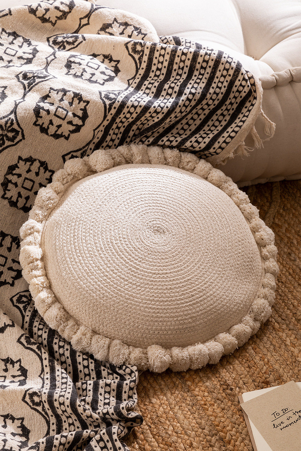 Olets Round Cotton Braided Cushion, gallery image 1