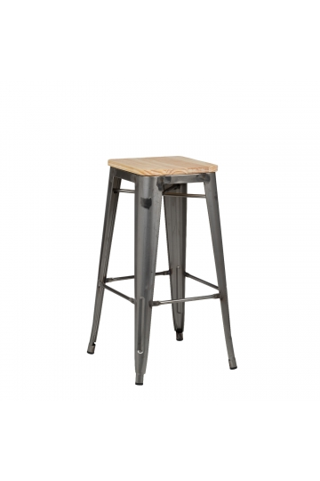 High Stool in Steel LIX Brushed Wood