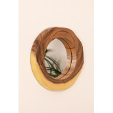 Round Wall Mirror in Wood (33.5x30.5 cm) Vrao, thumbnail image 2