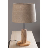 Linen Table Lamp  with  wooden stand Ulga, thumbnail image 2