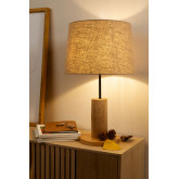 Linen Table Lamp  with  wooden stand Ulga, thumbnail image 1