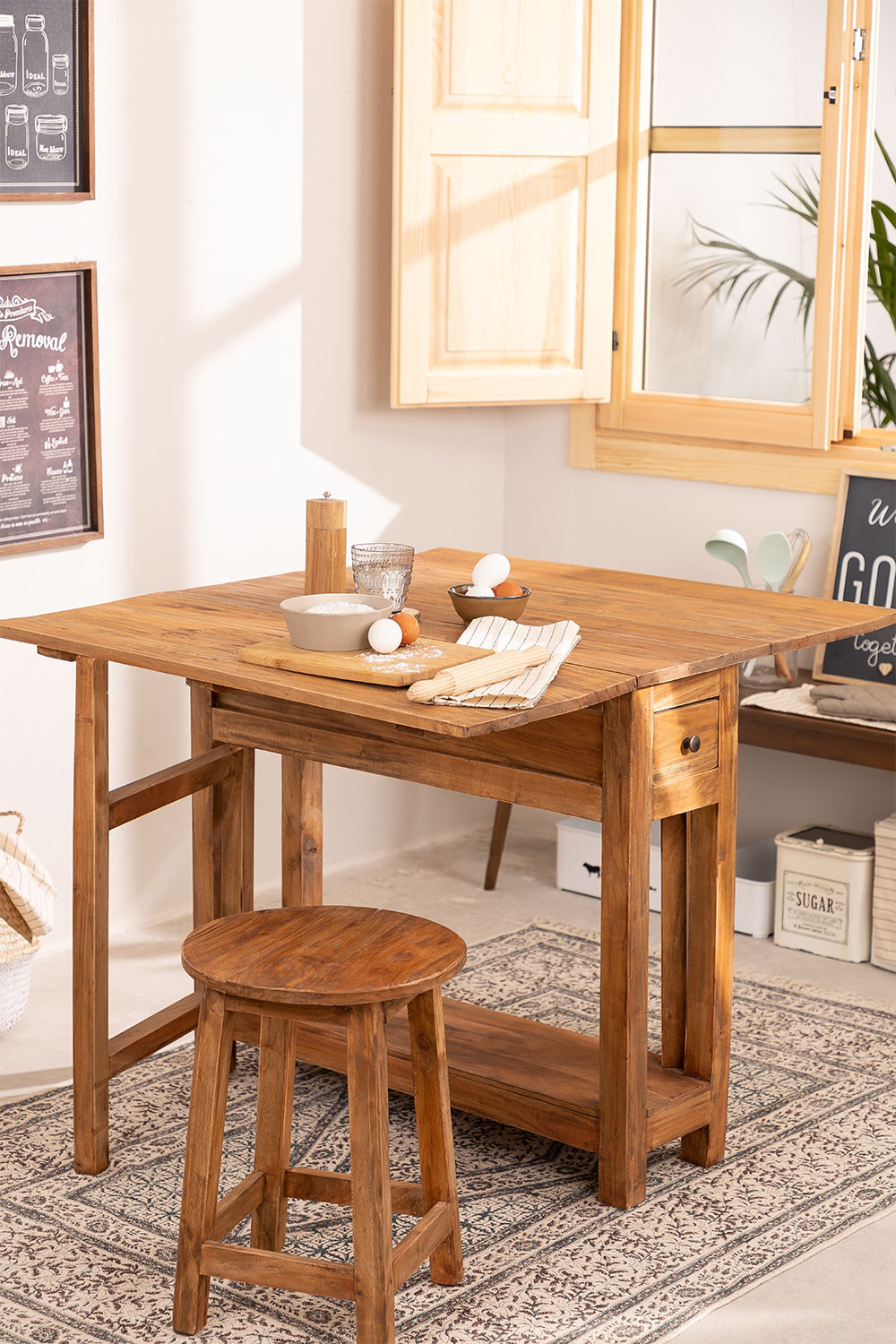 Recycled Wood Folding Table Abura, gallery image 1