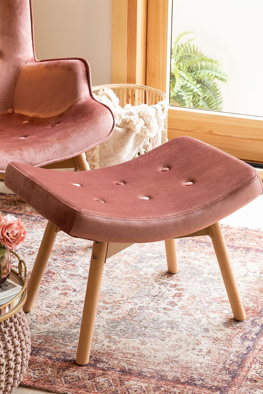 Velvet Upholstered Footstool Morris Edition , gallery image 1