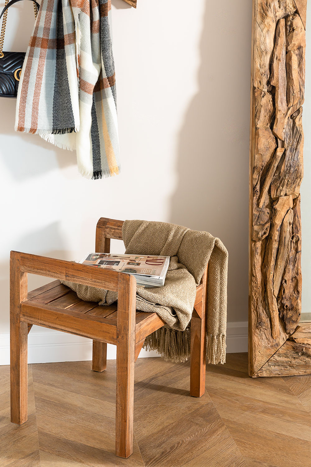 Recycled Wood Bench with Armrests Parans, gallery image 1