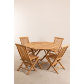 Set of Folding Garden Table and 4 Chairs in Teak Wood Pira, thumbnail image 2