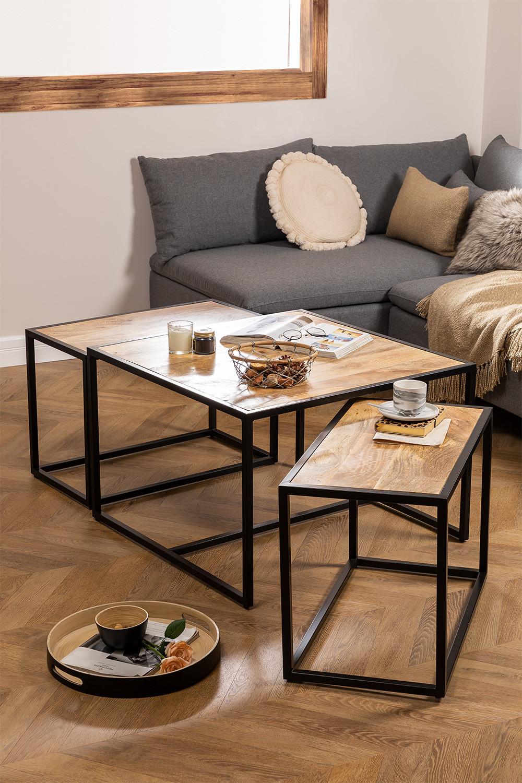 Bavi Mango Wood Nido Tables, gallery image 1