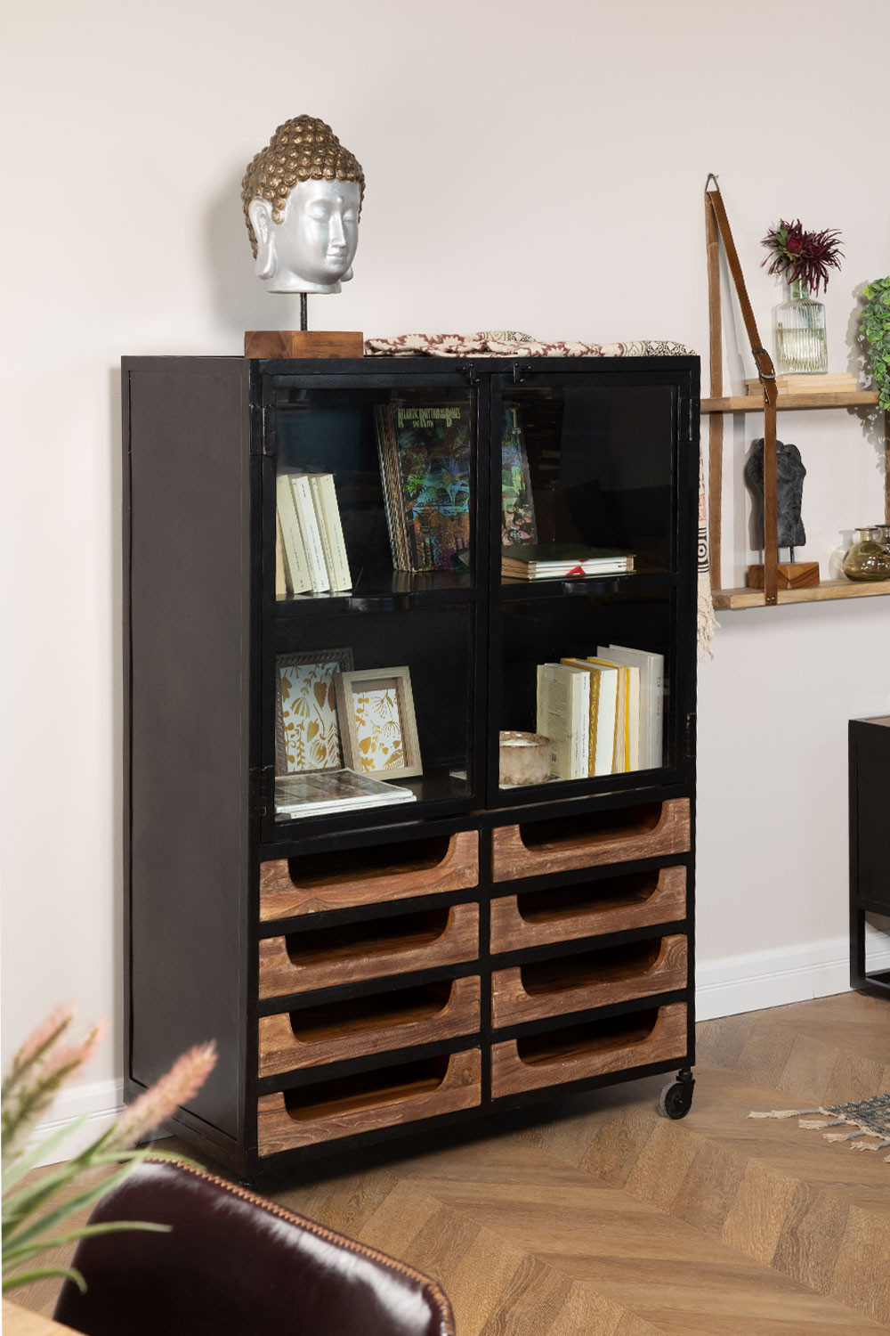 Emberg Wooden Display Cabinet with Drawers, gallery image 1
