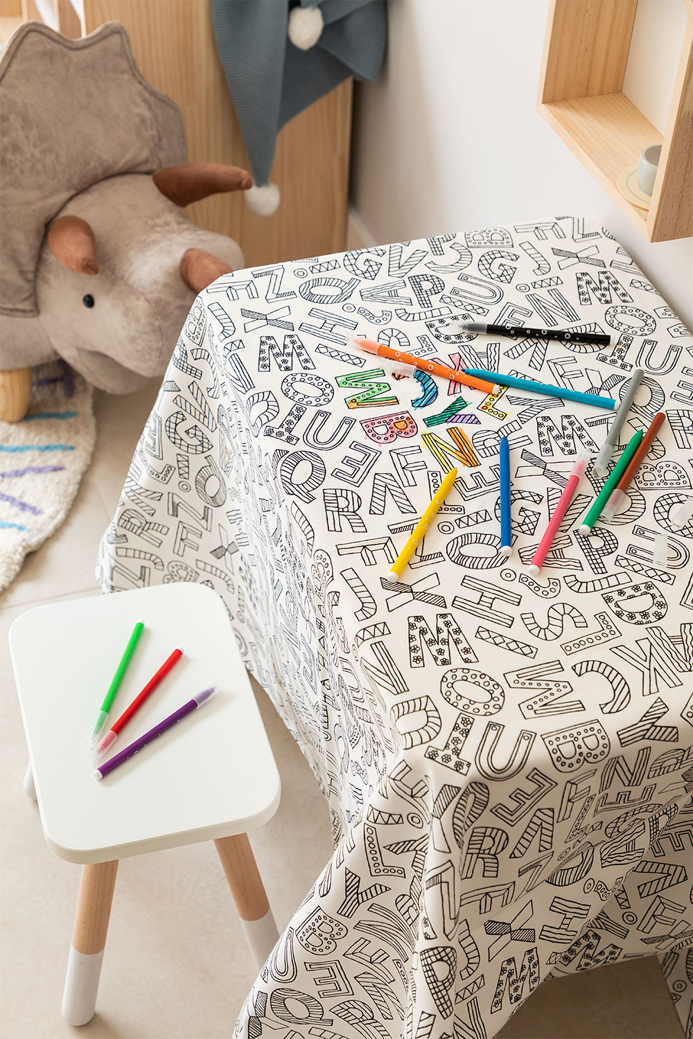 Washable Tablecloth with 12 Letters Kids Coloring Markers, gallery image 1
