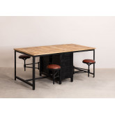 Mango Wood and Metal Dining Table with 4 Quadrap Stools, thumbnail image 1