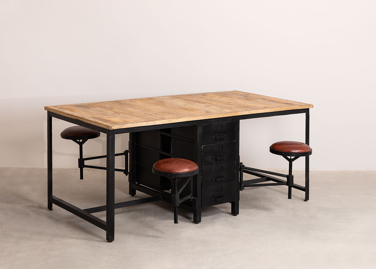 Mango Wood and Metal Dining Table with 4 Quadrap Stools, gallery image 1