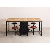 Mango Wood and Metal Dining Table with 4 Quadrap Stools, thumbnail image 3