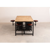 Mango Wood and Metal Dining Table with 4 Quadrap Stools, thumbnail image 2