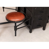 Mango Wood and Metal Dining Table with 4 Quadrap Stools, thumbnail image 5
