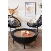 Round Coffee Table in Mango Wood and Iron (Ø90 cm) Muty, thumbnail image 1