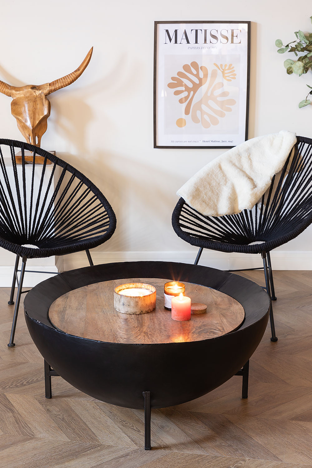 Round Coffee Table in Mango Wood and Iron (Ø90 cm) Muty, gallery image 1